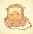 Sketch respiratory mask in vintage style vector