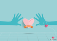 Hands holding heart heart paper with ribbon vector