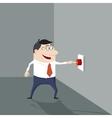Cartoon man pushing a red button vector