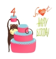 Monkey cake four years old with happy birthday vector