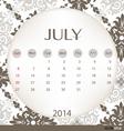 2014 calendar vintage calendar template for july vector
