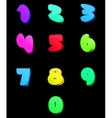 Colorful numbers set comic style vector