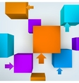3d cubes with arrows vector