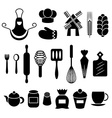 Baking kitchen tools silhouettes set vector