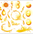 Set of orange water drops and splashes vector