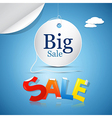 Big sale on blue sky background with clouds vector