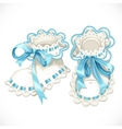 Blue booties for newborn vector