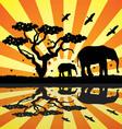 Elephants birds and butterflies in africa vector