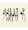 Fashion girls with shopping bags for your design vector