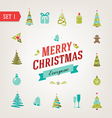 Christmas retro icons logo elements vector
