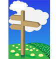 Spring background signpost on meadow vector