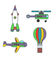 Abstract air vehicles thin line icons set vector