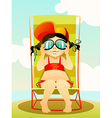 Young girl in sunglasses vector