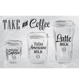 Set of coffee drinking cup sizes coal vector