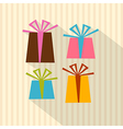 Retro present boxes gift boxes on cardboard paper vector