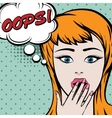 Pop art cute woman with oops sign vector