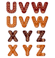 Gingerbread alphabet letters from u to z vector