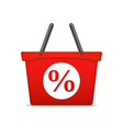 Shopping basket with percent sign vector