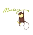 Monkey hanging on vine with banana lettering vector