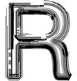 Grunge font letter r vector