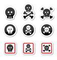 Death skull with bones icons set vector
