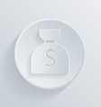 Circle icon with a shadow bag of money vector