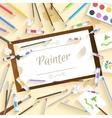 Flat art painter workshop with paint supplies vector