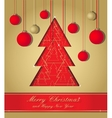 Gold and red christmas postcard vector