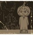 Little ghost with pumpkin vector