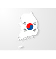South korea flag map with shadow effect vector