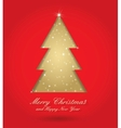 Red and gold christmas tree vector