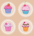 Retro cupcakes vector