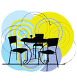 Interior design scene table and chairs vector