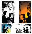 Grunge photographers silhouette - set vector