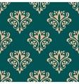 Pretty green retro floral motif wallpaper design vector