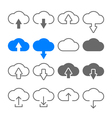 Download upload cloud icons set vector