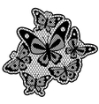 Black lace design with butterflies isolated on vector