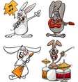 Rabbits rock musicians set cartoon vector