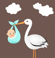Stork with baby card vector