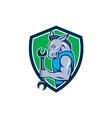 Donkey mechanic spanner mascot shield retro vector