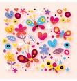 Butterflies hearts flowers vector