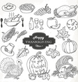 Sketch doodle thanksgiving icon set hand draw vector
