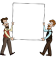 Two men with a picture vector