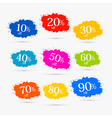 Colorful discount labels stains splashes vector