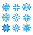 Christmas winter blue snowflakes icons set vector