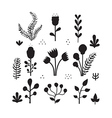 Isolated fairytale flowers silhouettes vector