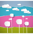 Abstract trees clouds on retro torn paper vector