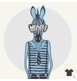 Hand drawn fashion portrait of hipster zebra vector