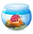 A snail inside an aquarium vector