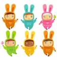 A cute little babies bunnies vector